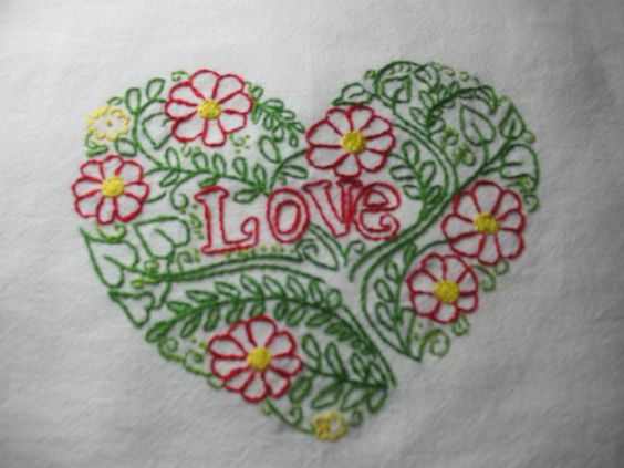 VALENTINE'S HEART-New hand embroidered 30 X 30 flour sack tea/dish towel