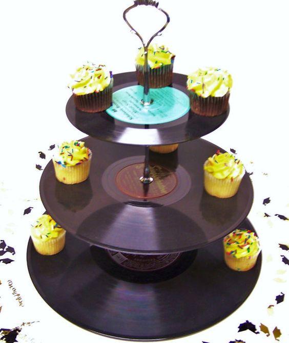 Custom Order for 6 Retro Record Dessert 3 Tier Pedestal Cake Cupcake Stand Recycle Rockabilly Wedding Birthday Lets Rock N Roll