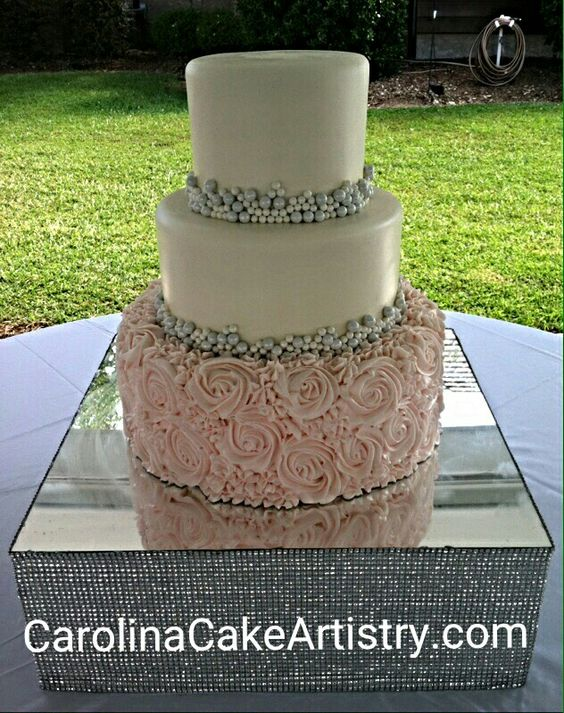 Beautiful Rosette and Pearl Wedding Cake @Champagne Manor