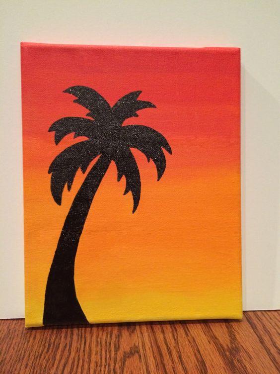 Palm Tree Sunset Silhouette by CustomCanvasbySarah on Etsy