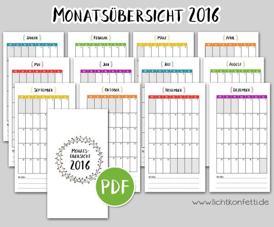 ** lichtkonfetti: {Türchen #8} - Free Printable Kalender 2016