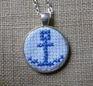 SALE! Nautical blue anchor cross stitch pendant necklace