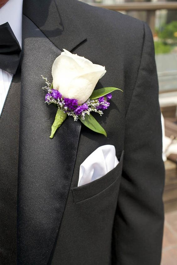 Wedding Boutonniere but have blue ribbon wrapping at bottom and no purple bottom (use other white or yellow small flower)