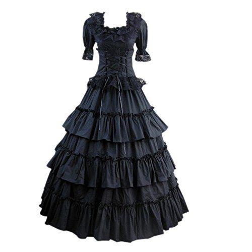 Partiss Damen Kurzaermel Kleid Gotische Viktorianische Lolita Ballkleid Ruffles Abendkleid mit Lace Partiss http://www.amazon.de/dp/B01680SA8O/ref=cm_sw_r_pi_dp_wgHfwb0V1AKQW