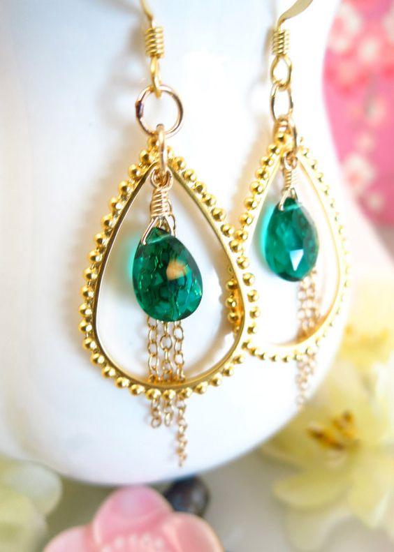 Peacock Green Quartz Gold Tear Drop Hoop Chain by KBlossoms, $50.00