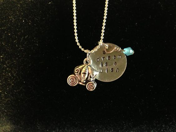 Disney Cinderella Inspired Hand Stamped Charm Necklace $18.00 USD