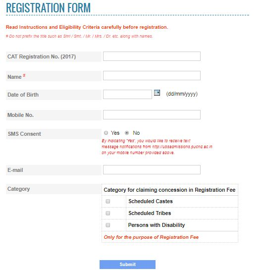 CAT 2017 Exam Registration Form Online Application Form - disability application form