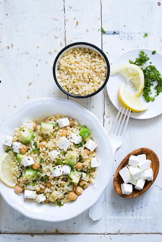 bulgur salad with cheese and avocado