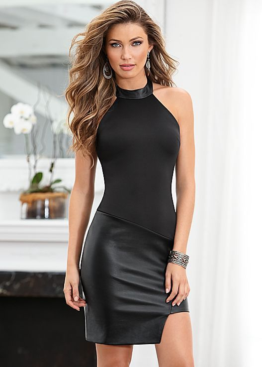 Black Faux leather skirt dress from VENUS. Sizes 2-16!  Leather ...