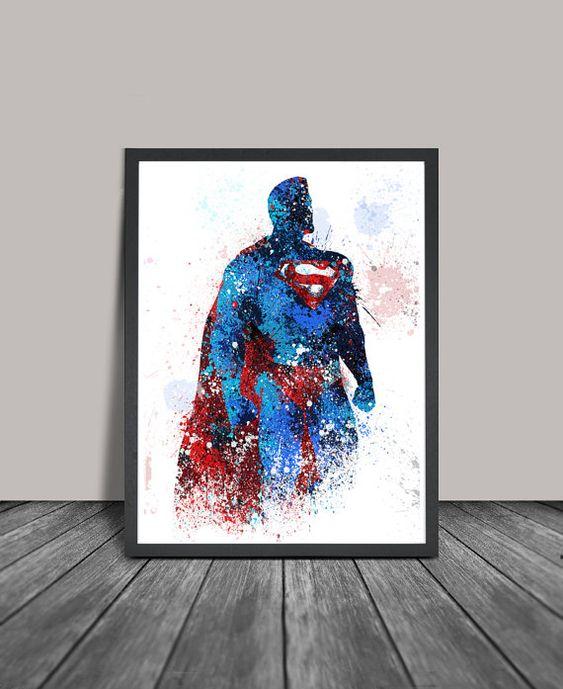 Superman, Superman Poster, Superhero Art Poster, Heroes Painting, Abstract, Superhero Wall Art, Artwork, Gift, Home Decor.Print (146)