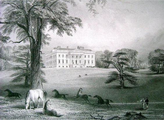 Georgian view of Claremont, near Esher, Surrey, c.1810. The 18th century Palladian mansion is now a school, and the gardens are run by The National Trust.