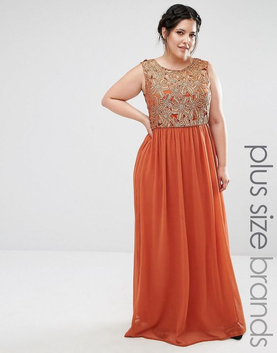 Image 1 of Club L Plus Maxi Dress With Metallic Lace Top