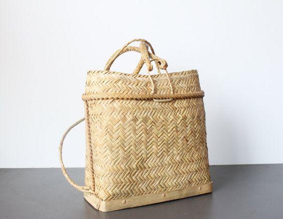 Wicker Basket Backpack : Woven rattan backpack wicker tote by ffog on etsy