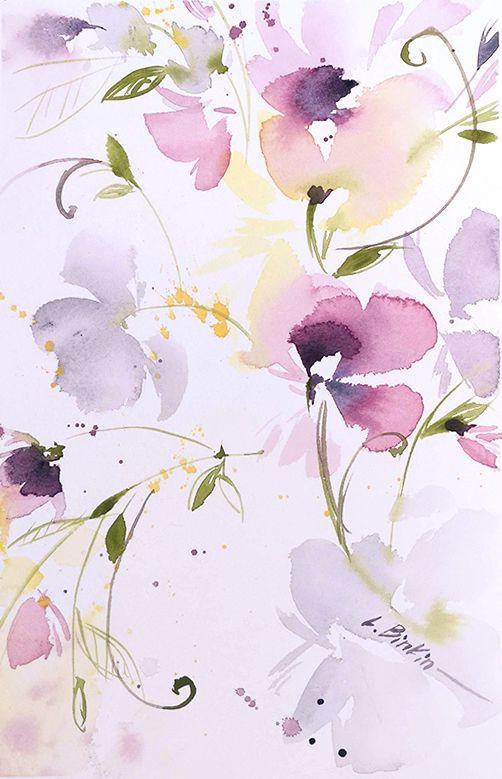 Lesia Binkin Watercolor Flowers Watercolor Flower Background
