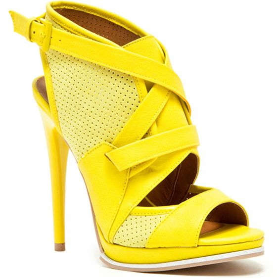 Qupid Holly-15 Strappy Sandal ($23) ❤ liked on Polyvore featuring shoes, sandals, heels, yellow, yellow heel shoes, rock shoes, strap sandals, qupid shoes and strappy heel shoes