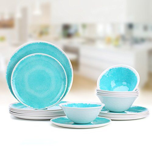 Melamine Dinnerware Set For 4 12pcs Dinnerware Dishes Set For Indoor And Outdoor Use Dishwasher Safe Blue Melamine Dinnerware Sets Dinnerware Rustic Tableware