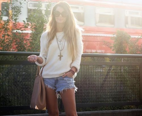 cutoffs & sweater