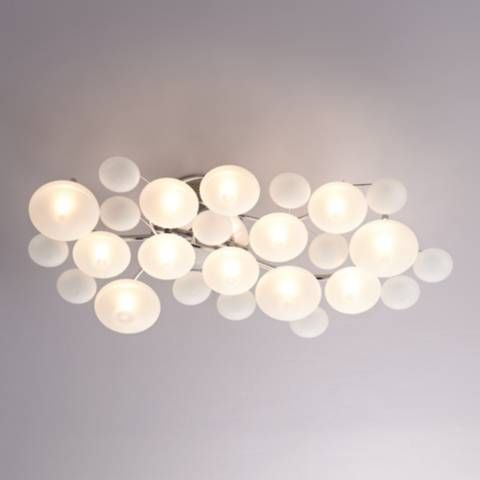Possini Euro Lilypad 30 Wide Etched Glass Ceiling Light 20756