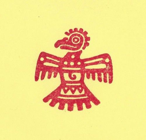 Aztec thunderbird bird rubber stamp mayan mexican indian for Aztec tattoo shop phoenix az