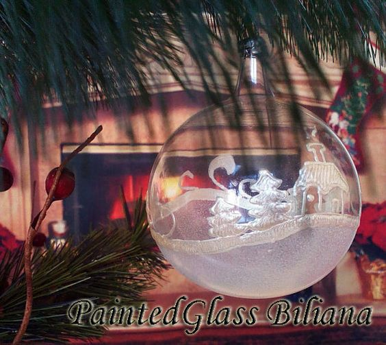 PERSONALIZED Hand painted glass ball by PaintedGlassBiliana