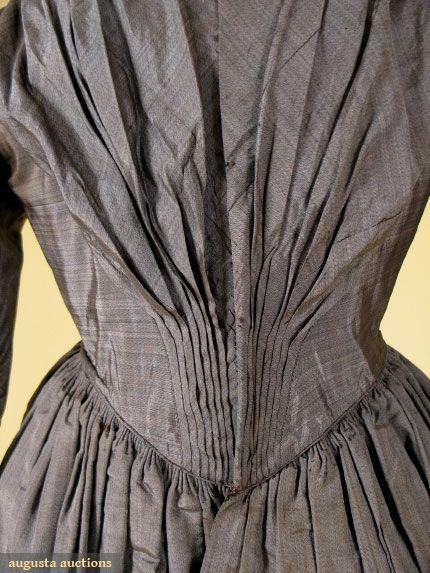 HEATHERED SATIN DAY DRESS, 1840s