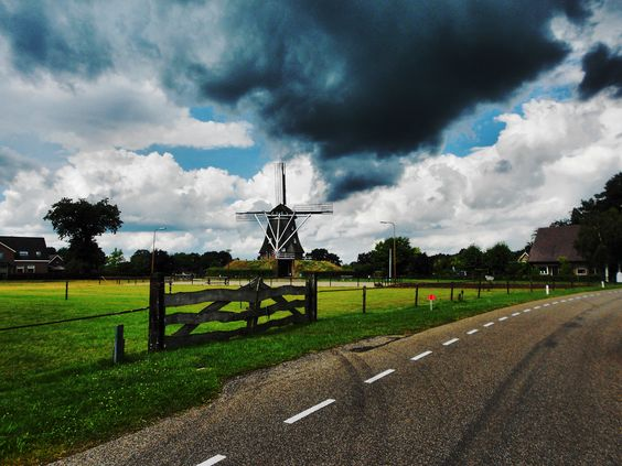 Dutch mill, dark cloud