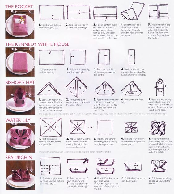 Looking for a way to fold napkins for your elegant table? Here are a few ideas