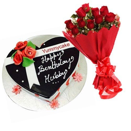 Heart Shaped Birthday Cake For The Husband To Wish Him In A