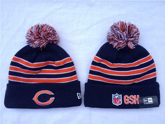 Women's Chicago Bears New Era White/Navy Snow Crown Cuffed Knit Hat