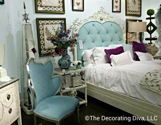 Fresh take on classic french furniture designed by Florence de Dampierre for John-Richard. Gorgeous headboard! #hpmkt