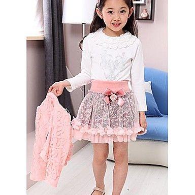 Girl's Print Pink/Purple Set(Coat&Shirt&Skirt),Cute Round Neck Long Sleeve Bow – USD $ 31.99