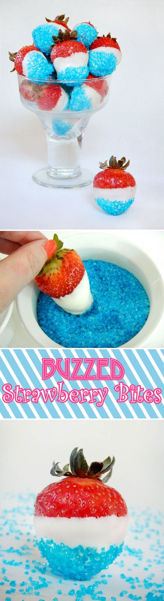 Easy DIY BUZZED STRAWBERRY BITES Fourth of July Dessert idea for your party. Treats for adults.