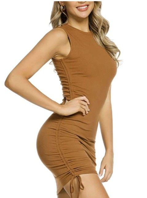 MYHEAT MH Drawstring Bodycon Mini Dress Solid Color Sheath Ruched Side Lace Up Dresses for Women