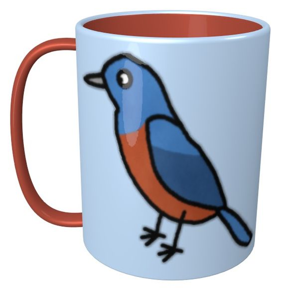 Blue Rock Thrush Mug / #Tableware #Animal #Bird #イソヒヨドリ