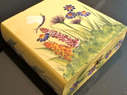 Wildflowers on a jewelry box.  One Stroke Painting by Susan Earl.