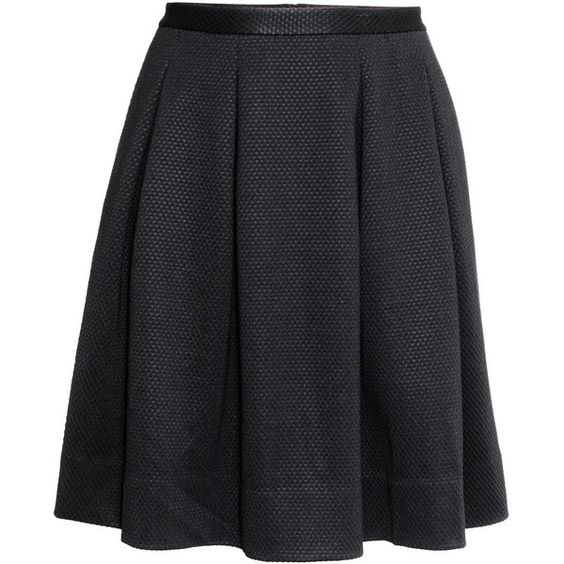 H&M+ Flared skirt (€8,05) ❤ liked on Polyvore featuring skirts, bottoms, plus size, black, saias, plus size black skirt, knee length circle skirt, box pleat skirt, black knee length skirt and womens plus size skirts