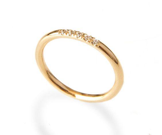 Diamantes anillo en allanar conjunto delicado por LoveNaomiStudio