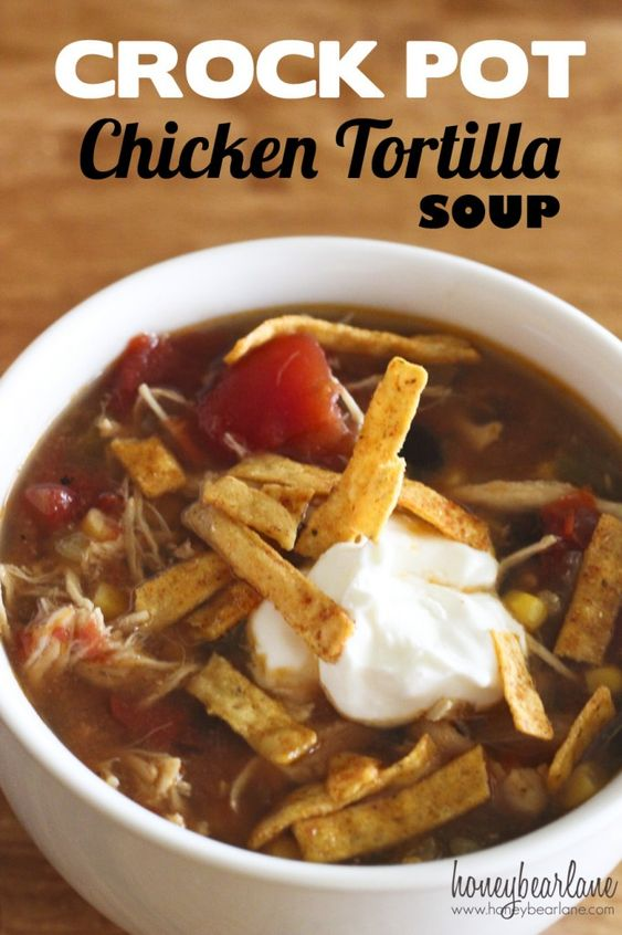 Crockpot Chicken Tortilla Soup - this is good but needs more seasoning. More chili powder, cumin, garlic powder, salt and pepper