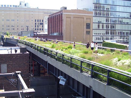 The High Line is a 1-mile New York City linear park built on a 1.45-mile section of the elevated former New York Central Railroad spur called the West Side Line, which runs along the lower west side of Manhattan; it has been redesigned and planted as an aerial greenway.