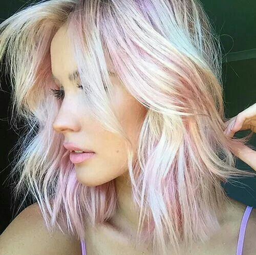 Gorgeous Platinum Blonde With Cotton Candy Pink Lowlights