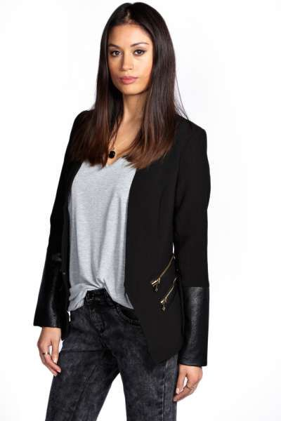 Nadia Faux Leather Trim Blazer at boohoo.com