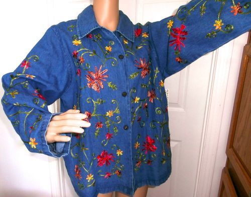 STUNNING TANTRUMS EMBROIDERED DENIM JACKET MULTI COLOR FLORAL SIZE LARGE NEW check out many other items on my other boards and on the ebay pages! http://r.ebay.com/2SMI1t
