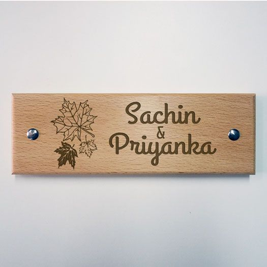 Engraved Wooden Name Plate - Name Plates - Home Decor - Maple Leaves ...