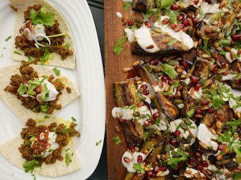 Loqmeh Spiced Lamb Kebabs & Cumin-Roasted Aubergine Wedges