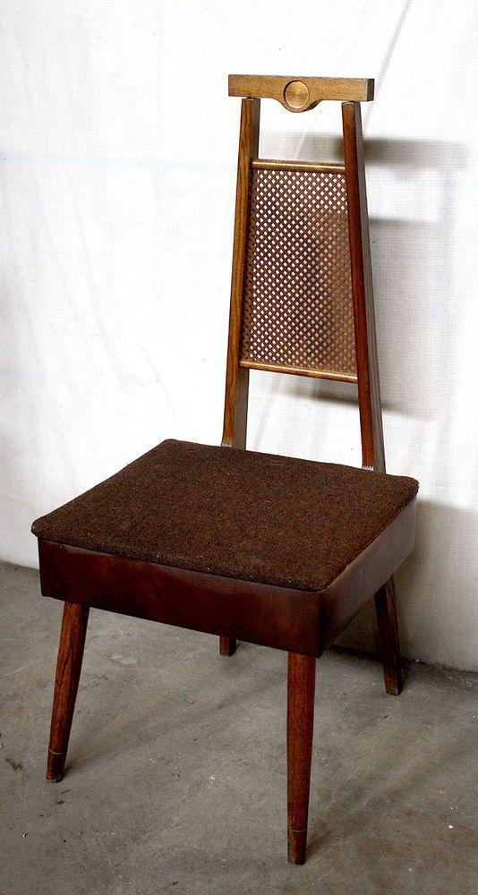 Vintage Antique Wood Wooden Storage Mens Valet Butler Sewing Dressing Chair Seat Midcenturymodern Unknown How To Antique Wood Dressing Chair Chair