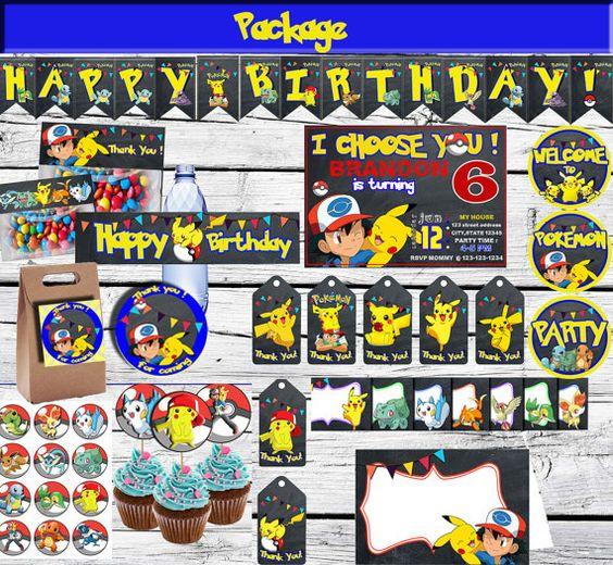 Pokemon Package-Printable Pokemon Set-Birthday Pokemon Pikachu  Kit Printable…