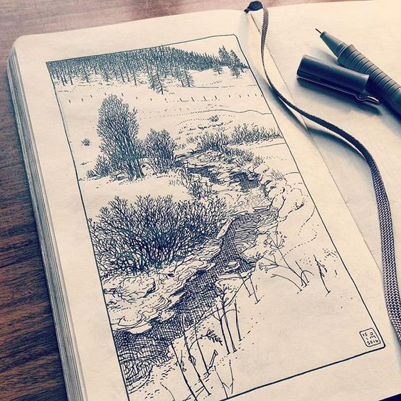 Drawing of a mountain creek in the snowy Swiss Alps.