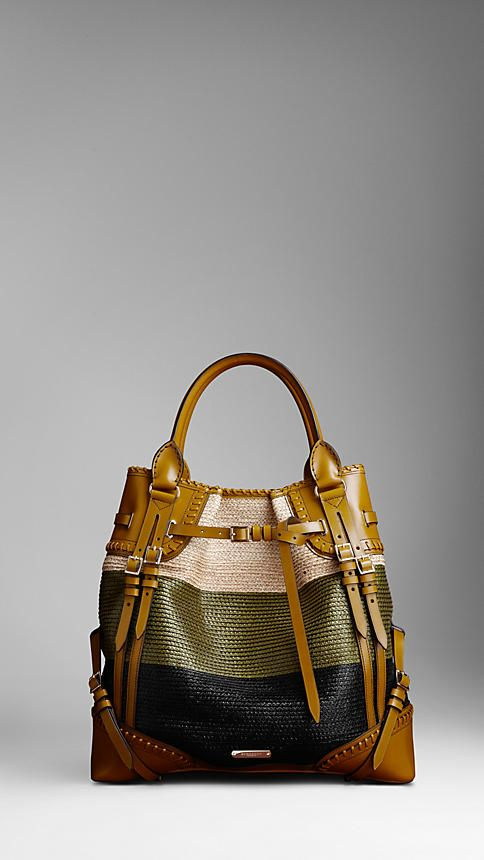 Raffia Burberry Whipstitch Bag