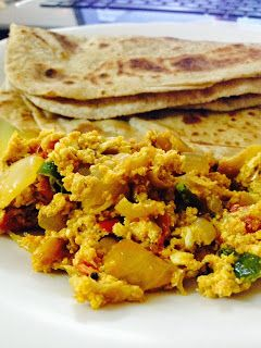 Roti and spicy scrambled eggs