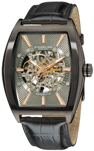 Stuhrling Original Men's 182C3.33F51 Leisure Millennia Master Automatic Skeleton Gunmetal Watch Set Stuhrling Original. $113.00. Black textured skeleton dial with rosetone hands and markers. Black alligator embossed genuine leather strap with interchangeable brown strap. Protective Krysterna crystal on front and back. Polished gunmetal layered stainless steel tonneau shaped case with brushed finish bezel. Water-resistant to 165 feet (50 M)